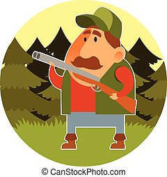 Hunter - Vector image of a cartoon hunter with the rifle