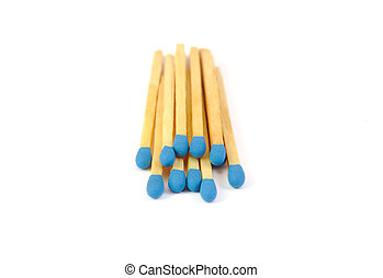 Bunch matches with blue tips isolated on a white background...