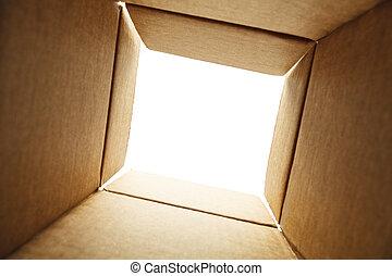 Inside Box - Looking out of the Bottom of a Box With White...
