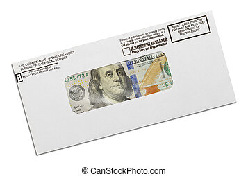 Tax Refund - Department of the Treasury Envelope with Money...