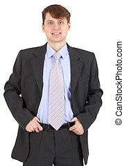 Smiling young man in business suit on white background