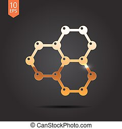 Graphene icon - Vector gold graphene icon on dark background...