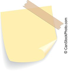 Yellow square sticker taped on white surface