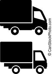 Lorry van icons set