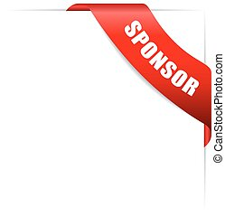 Sponsor ribbon - Sponsor corner ribbon isolated on white...