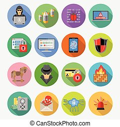 Internet Security Flat Icon Set with Long Shadows for Flyer,...