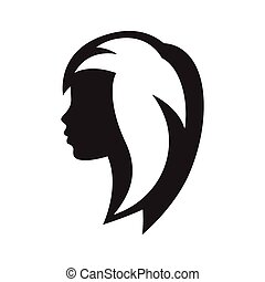 Woman silhouette concept emblem of beauty or hairdressing salon