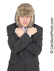 Hoarse waggish young man in fur hat - Hoarse waggish young...