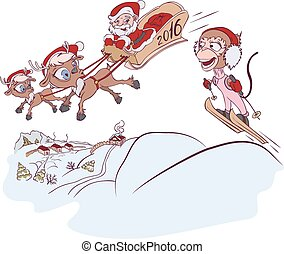 Santa Claus and reindeer met monkey symbol 2016. Monkey...