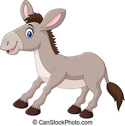 Illustration of a cartoon donkey - Vector illustration of a...