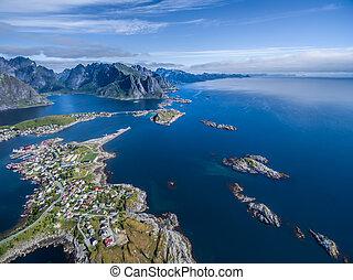 Reine on Lofoten - Scenic aerial view of Reine, picturesque...