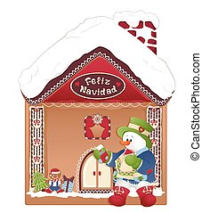 christmas card- snowman, ginger house and feliz navidad -...