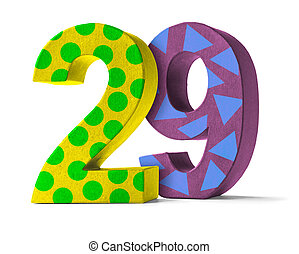 Colorful Paper Mache Number on a white background - Number...
