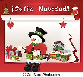 christmas card with snowman, gift and feliz navidad -...