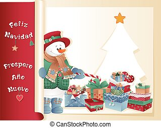 christmas card with snowman, gifts and tree - Christmas...