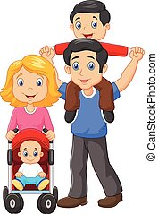 Father giving his son piggyback rid - Vector illustration of...