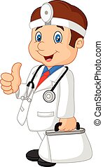 Doctor Man Carrying His First Aid - Vector illustration of...