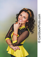 Attractive woman with coronet of beads in autumn style