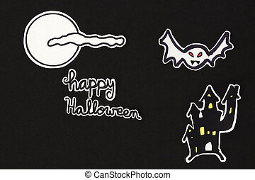 halloween decorations house bats, moon, clound and Happy...
