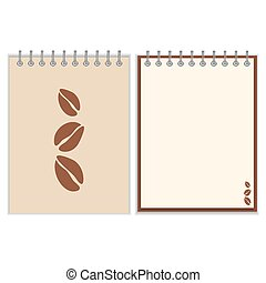 Notebook cover design with coffee beans - Ring-bound...
