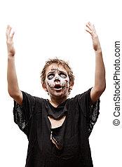 Screaming walking dead zombie child boy halloween horror...