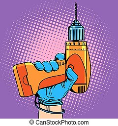 Drill in hand work repair pop art retro style