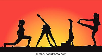 fitness on the background of sunset