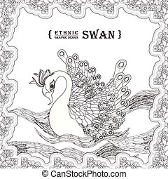 graceful swan coloring page in exquisite style