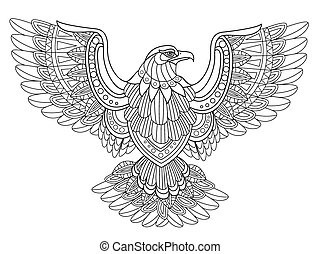 flying eagle coloring page in exquisite style