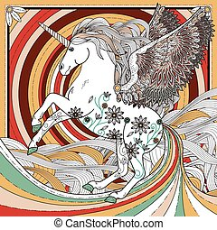 fantastic unicorn coloring page in exquisite style