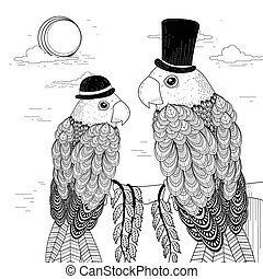 elegant parrots coloring page in exquisite style