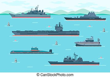 Warship set in flat style Boat transport, speedboat and...