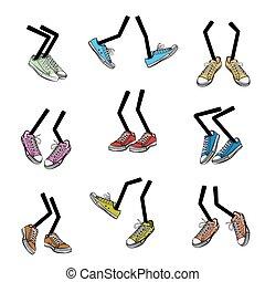 Cartoon walking feet