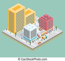 Isometric city center map with buildings, shops and roads....