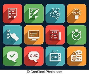 Lottery and quiz icons set Game and play, answer tv radio...