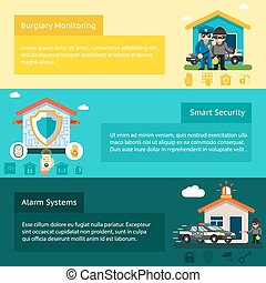 Home security system flat vector banners set