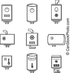 Vector boiler icons set. Pipe and temperature, tank...