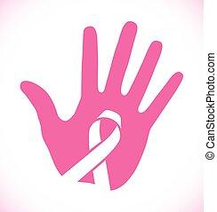 rosa,  cáncer, pecho, mano, logotipo, cinta, impresión, Conocimiento, icono