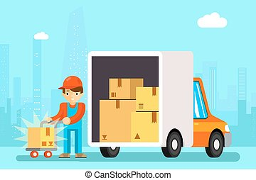 Delivery man unload delivery car boxes Transportation cargo,...
