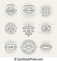 Winemaking and winehouse label or emblem set in hipster...