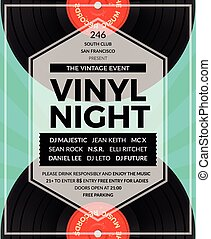 Vector vintage vinyl LP DJ party poster. Disco and sound,...