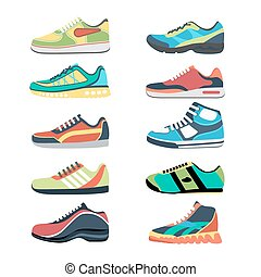 Sports shoes vector set Fashion sportwear, everyday sneaker,...