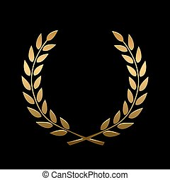 Vector gold award laurel wreath. Winner label, leaf symbol...