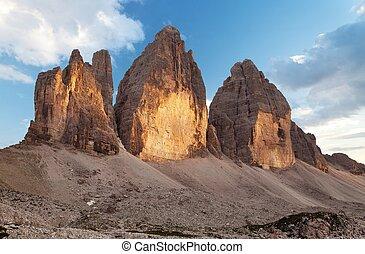 Evening view of Drei Zinnen or Tre Cime di Lavaredo,...