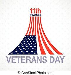 Veterans day flag design logo emblem on white background. -...