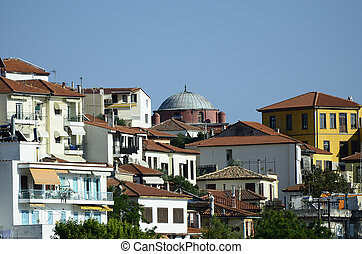 Greece_ Kavala - Greece, Kavala, homes and cupola of the old...