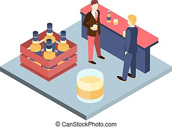 Men in suits at the bar sterilizing Isometric 3D vector...