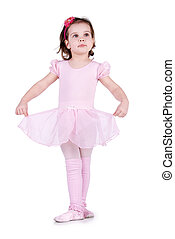 Little ballet dancer isolated on a white background
