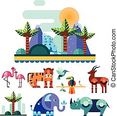 Jungle and Tropic Animals, Birds Vector Illustration Set -...