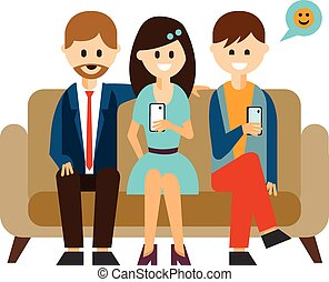 Young People Communicating in Social Media Vector Illustration